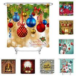 Christmas Baubles Fireplace Snowman Fabric Shower Curtain Se