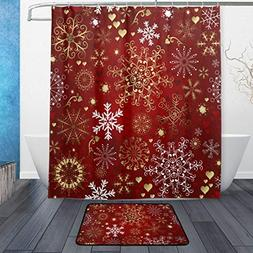 ALAZA Set of 2 Christmas Holiday 60 X 72 Inches Shower Curta
