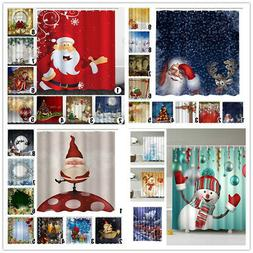 Christmas Home Shower Curtain Waterproof Bathroom Xmas Polye