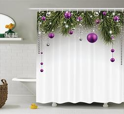 Ambesonne Christmas Shower Curtain, Tree with Tinsel and Bal