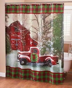Christmas Shower Curtain with Vintage Red Truck, Barn and Ho