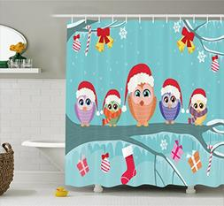 Ambesonne Christmas Shower Curtain, Cute Owl Family Sitting