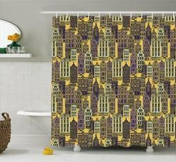 City Pattern Shower Curtain Fabric Decor Set with Hooks 4 Si