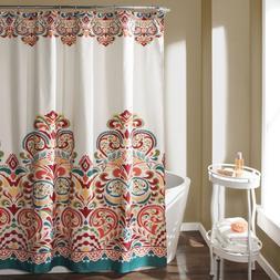 Lush Decor Clara Fabric Shower Curtain  Turquoise & Tangerin