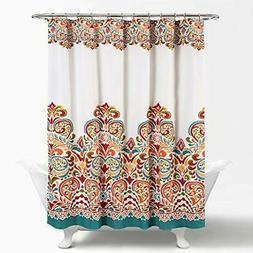 Lush Decor Clara Shower Curtain - Fabric Colorful Boho Paisl