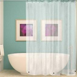 Clear PEVA Shower Curtain Liner with Hooks Multi-color N/A