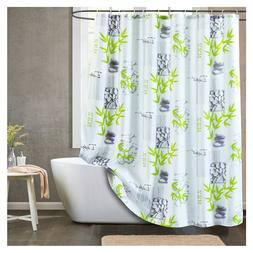 Cloth Fabric Shower Curtain Bamboo Stone Mold & Mildew Resis