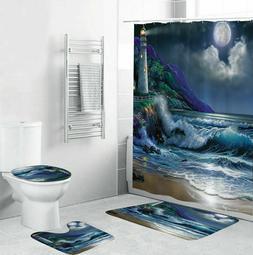 🔥Coast Shower Curtain Bathroom Rug Set Thick Bath Mat Non