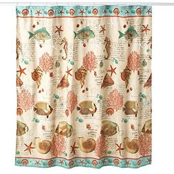 Collections Etc Coastal Seaside Vintage Shower Curtain