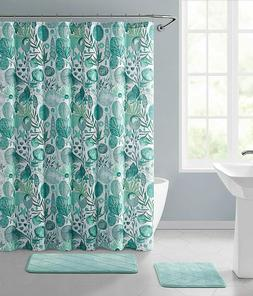 VCNY Coastal Teal Green Fabric Shower Curtain for Bathroom O