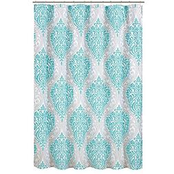 Coco Shower Curtain ? Teal and Grey ? Printed Damask Pattern
