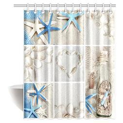 InterestPrint Collage of Summer Seashells Decor Shower Curta