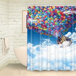 FOOG Colorful Balloon House from UP Shower Curtain Sets by H
