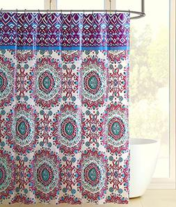 Colorful Bohemian Fabric Shower Curtain Large Mandala Print Top Border Design