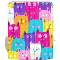 SunRaysofYellow Colorful Cat Cartoon Shower Curtain with Hoo