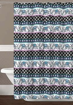C.H.D Home Colorful Elephant Fabric Shower Curtain with Flor