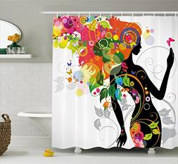 Ambesonne Colorful Home Decor Shower Curtain, Madame Butterf
