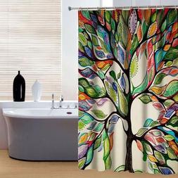 Colorful Tree Pattern Shower Curtain w/ Hook Bath Waterproof