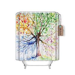 Colorful Tree Art Print Four Seasons Shower Curtain, 84 Inch