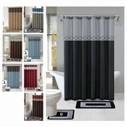 Contemporary Bath Shower Curtain 15 Pcs Modern Bathroom Rug