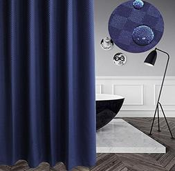 Eforcurtain Contemporary Solid Navy Color Mold Resistant Sho