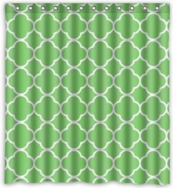 Cool design Moroccan Tile Quatrefoil Green and White Lattice