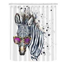 Cool Zebra in Glasses Artistic Shower Curtain for Bathroom b