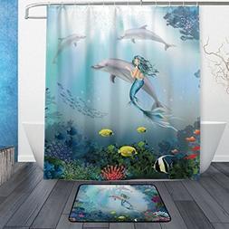 Cooper girl Underwater Dolphins And Mermaid Waterproof Showe