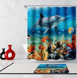 Coral Shower Curtain Lovely Dolphin Swimming in Sea Design f
