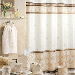 DS BATH Corinthia Beige Diamond Shower Curtain,Mildew Resist
