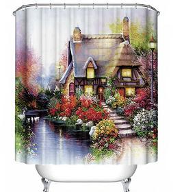 Cottage Floral Scene Fabric Shower Curtain 70x70 Kinkade-Sty