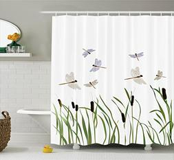Ambesonne Country Decor Collection, Flying Small Dragonflies