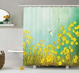 Ambesonne Country Decor Shower Curtain Set By, Flourishing A