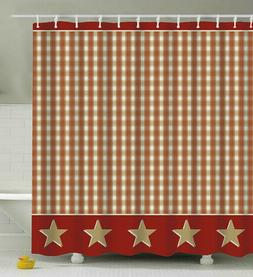 Country Plaid Stars SHOWER CURTAIN Rusty/Burgundy Taupe Tan