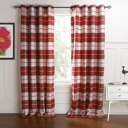 IYUEGO Country Retro Red Plaid Eco-friendly Jacquard Grommet