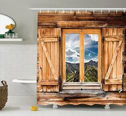 Ambesonne Farmhouse Shower Curtain Apartment Decor, Mountain