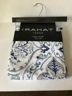 Tahari Home Crafted Medallion Fabric Shower Curtain Blue Whi