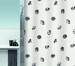 Spirella  CRYSTAL BLACK / WHITE TEXTILE Polyester SHOWER CUR