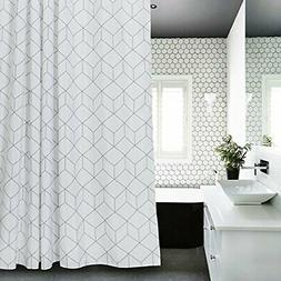 Aimjerry Cube Fabric Shower Curtain White for Bathroom,
