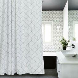 Aimjerry Cube Fabric Shower Curtain White for Bathroom, Wate