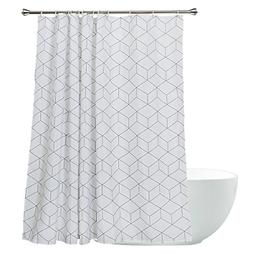 Aimjerry Cube Mildew Resistant Fabric Shower Curtain White f