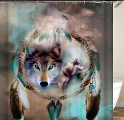 Curtain Shower Bathroom Dreamcatcher Western Wolf Spirit Ani