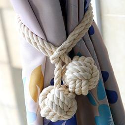 KISENG 1 Pair Curtain Tiebacks Hand Knitting Cord Rope Buckl