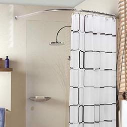 Curved Shower Rod Aluminum Alloy Wall Mount Corner Bathroom