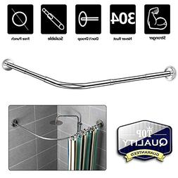 NiUB5 Curved Shower Rod,L Shaped,Corner Shower Curtain Rods,