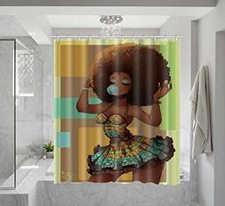 Custom African woman blowing bubble art print pattern shower