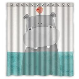 Custom Cute Cartoon Animal Hippo Bird In The Water Shower Cu