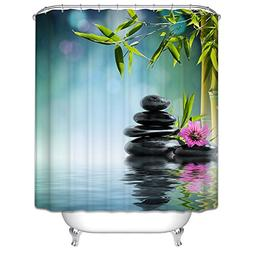 Custom Design Easy Clean Bamboo River Shower Curtains, Width