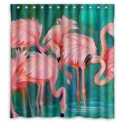 "Custom Flamingo Pattern Shower Curtain 66"" x 72"" Waterproof"