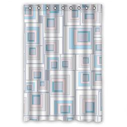 Custom Design Healthy Colorful Geometry Shower Curtain, Widt